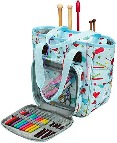 Coopay - Borsa per lavori a maglia a punto croce, borsa da viaggio per accessori per maglieria e progetti all'uncinetto, 24,9 x 25,4 x 14 cm, tessuto Oxford blu