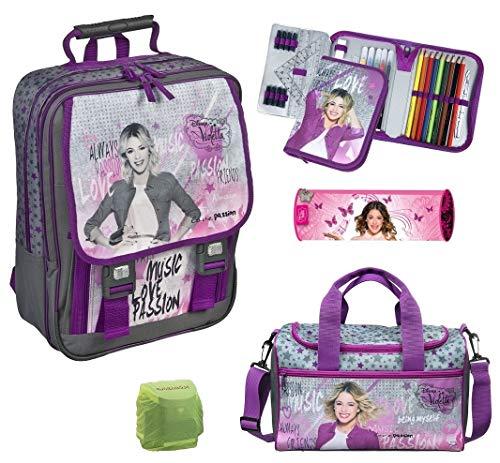 Scooli Mädchen Schulranzen-Set Schul-Rucksack Disney Violetta 5tlg. Set mit Federmappe gefüllt große Sporttasche VIAE8300