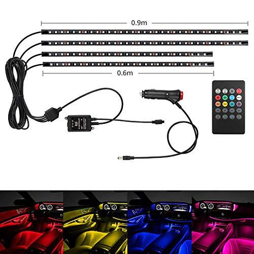 eSynic 4pcs Tiras LED Impermeable RGB de 8 Colores 12V Luz de Neón con Control Remoto para Habitacion, Hogar, Cocina, Porche, Bar, Fiesta, Boda y Restaurante