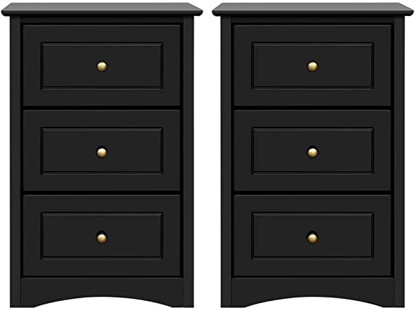 Yaheetech Tall Bedside Table Nightstand End Sofa Table With 3 Drawers Storage Cabinet Bedroom Set Of 2 Black