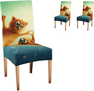 XIUCOO Chair Covers Protector Flying Cat Comfort Soft Seat Covers Slipcovers for Dining Room Party (Set of 2)