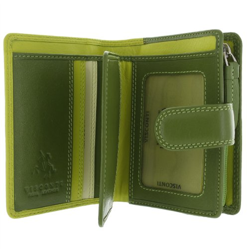 Visconti Leder Rainbow-Kollektion, Geldbörse BALI mit RFID-Schutz RB40 Grün Multi