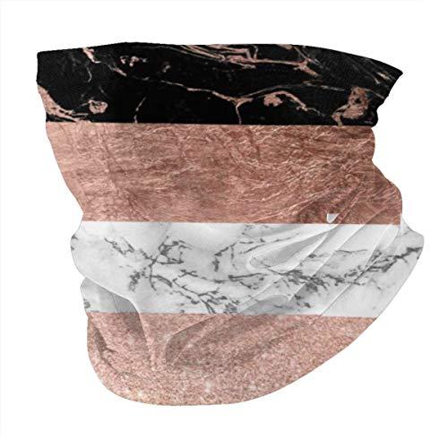 Art Fan-Design Cagoule unisexe en microfibre - Style moderne et chic - Rayures marbrées or rose - Réutilisable - Tissu respirant - Protection contre les UV et la poussière