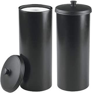 mDesign Plastic Free Standing Toilet Paper Holder Canister - Storage for 3 Extra Rolls of Toilet Tissue - for Bathroom/Powder Room - Holds Mega Rolls - 2 Pack - Black