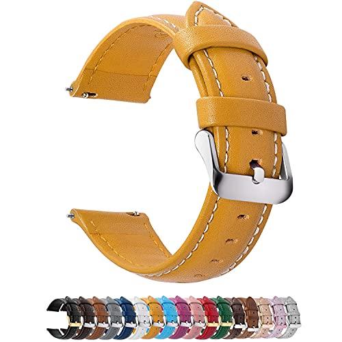Fullmosa Axus Correa Piel, 12 Colores para Correa Reloj, Huawei Samsung Correa/Banda/Pulsera/Strap 14mm 16mm 18mm 19mm 20mm 22mm 24mm, Amarillo + Hebilla Plata, 22mm