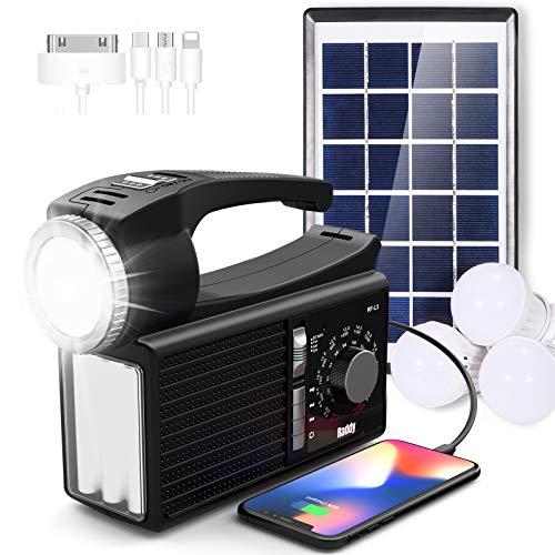Raddy RF-L3 Solar Radio FM Notfallradio Campinglampe mit Bluetooth Solar Panel Powerbank Handyladefunktion Laterne für Camping Notfall