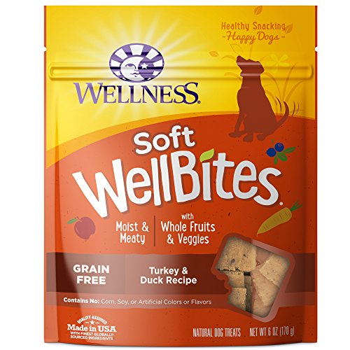Wellness Natural Pet Food 89166 Soft Wellbites Natural Grain Free Dog Treats, Turkey & Duck, 6-Ounce Bag