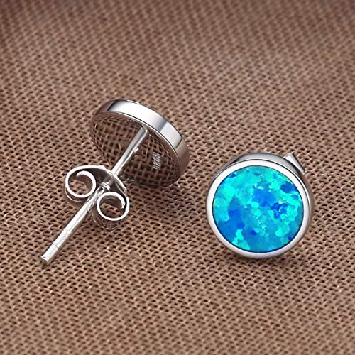 Nickel Free Hypoallergenic Sterling Silver Dark Blue Glitter Hamsa Tiny Stud Earrings