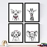 Set de 4 láminas de Animales Infantiles Accesorios Rosas ,en tamaño A4, Poster papel 250 gr alta calidad. Sin Marco