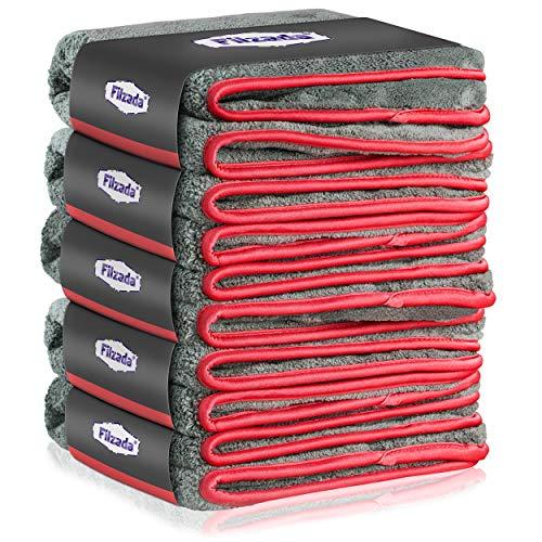 Filzada® 5X Paños De Microfibra Para Coches - Increíble Potencia De Succión Y Sin Pelusas - Toalla Secado Coche Coches Para Cuidado Profesional Del Coche (42X48Cm)