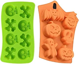2 Silicone Halloween Soap Molds - Day of the Dead Soaps - Pirate Party Cakes Skulls Crossbones - Pumpkins Ghosts Bats Bath Bombs - Random Colors Bundle by Jolly Jon