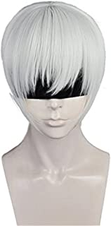 Anogol Hair Cap+Boy's Cosplay Wig Silver White Short Straight Hair Halleween Wigs Costume Fancy Dress