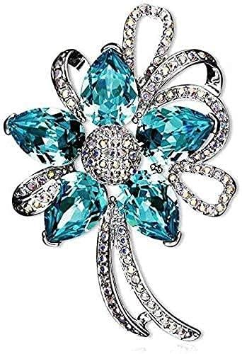 AACXRCR Broche de Cristal Accesorios para Mujer Plateado Joyas de joyería de Oro 18K, Azul y Rojo, para niñas (Color : Blue)