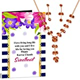 gift for wife gift Necklace set & Greeting Card Hamper Happy Karwa Chauth Sweetheart Happy Karwa Chauth Sweetheart Necklace set & Greeting Card Hamper
