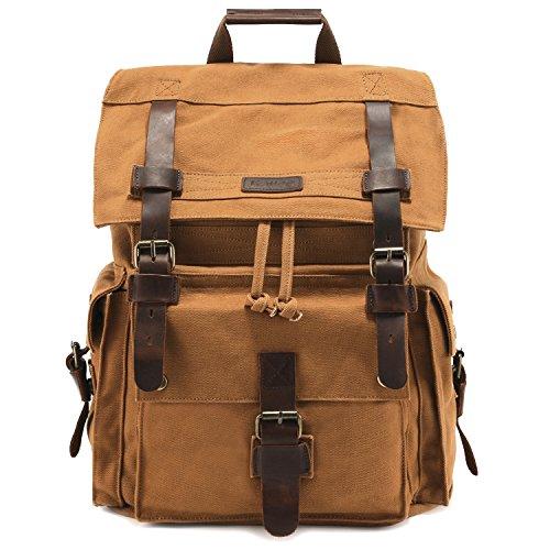 Kattee Vintage Leder Canvas Rucksack Große Schultasche passend für 15,6 Zoll Laptop, lässiger Reiserucksack für Herren Braun khaki
