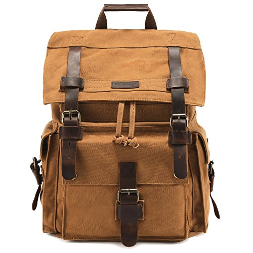 Kattee Men's Leather Canvas Backpack Large School Bag Travel Rucksack Gray