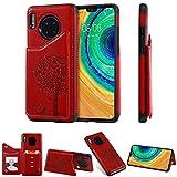 Miagon Flip Cover per Huawei Mate 30,Goffratura Gatto Albero Libro Portafoglio Pelle Case con Funzione Supporto e Porte Carte Chiusura Pieghevole Custodia,Rosso