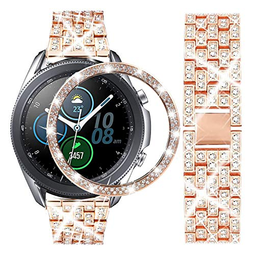 DEALELE Correa compatible con Samsung Galaxy Watch 3 de 45 mm, 22 mm, correa de metal de acero inoxidable con bisel de Strass de repuesto para mujeres y hombres, Rosegold
