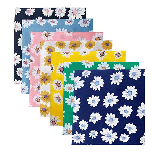 7 pezzi di cotone tessuto di girasole patchwork, 100% cotone, fogli di tessuto fai da te per cucito, trapuntatura, artigianato fai da te, artigianato (24 cm x 24 cm)