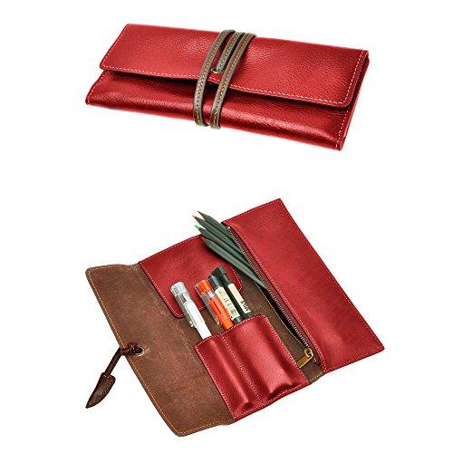 ZLYC Federmappe zum Zusammenrollen, weiches Leder, Handarbeit, für Schreibwaren, tolles Geschenk S(3.3*0.4*7.8