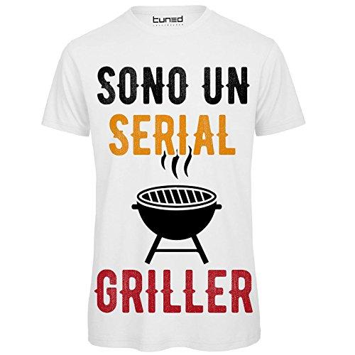 CHEMAGLIETTE! Maglietta Uomo T-Shirt Divertente con Stampa Ironica Sono Un Serial Griller Tuned,...