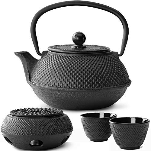 Bredemeijer Teekanne asiatisch Gusseisen Set schwarz 0,8 Liter mit Tee-Filter-Sieb mit Stövchen und Teebecher (2 Tassen) schwarz