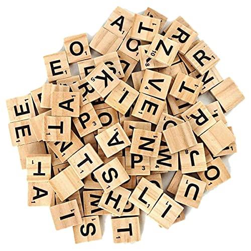 100 bloques de letras de madera del alfabeto para manualidades de pared