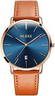 OLEVS Reloj de pulsera para hombre, ultradelgado, minimalista, retro, amarillo/marrón/negro/azul profundo, correa de cuero sintético, de cuarzo, resistente al agua y ventana de calendario