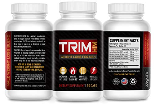 Trim Him- Diet Pills That Work Fast for Men- Rapid Fat Burner and Appetite Suppressant- Lose That Belly Fat Fast Without Exercise or Energy Loss- 60 Caps