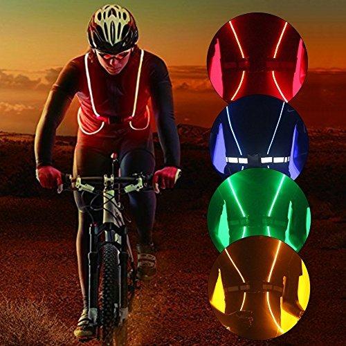 Reflektierende LED-Beleuchtung Sicherheit Weste Gürtel für Laufen, Radfahren, Snowboarden, Joggen, Wandern (keine Batterien), blau