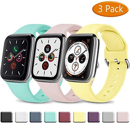 3 Pack Silicone Cinturino Compatibile per Apple Watch Cinturino 38mm 40mm 42mm 44mm, Morbido Cinturini Edizione Sportivo per iWatch Series 5 4 3 2 1, Uomo e Donna Cinturini
