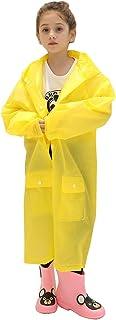 Waterproof Kids Rain Poncho Jacket Coat with Pockets(Yellow, Medium)