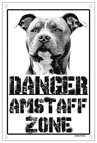 Danger amstaff zonas Placa cartel Metal cuidado con el Perro Metal Sign