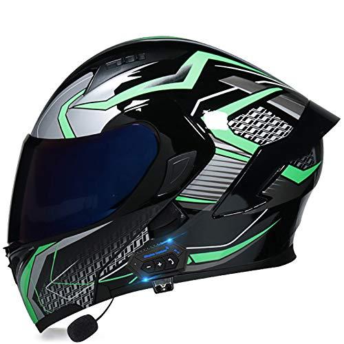 SJAPEX Bluetooth Integrado Casco de Moto Modular con Doble Visera Cascos de Motocicleta ECE/Dot Homologado Motocicleta de Casco Completo para Adultos al Aire Libre Casco Integral B,M=57~58