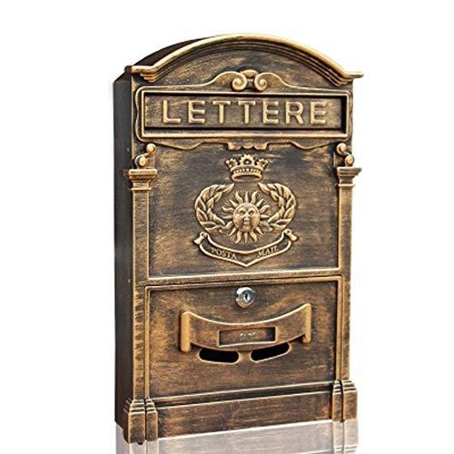HJTLK Wand-Briefkästen, Briefkasten Villa Outdoor Briefkasten aus Aluminiumguss Zeitungskasten Retro Home Briefkasten mit Schloss