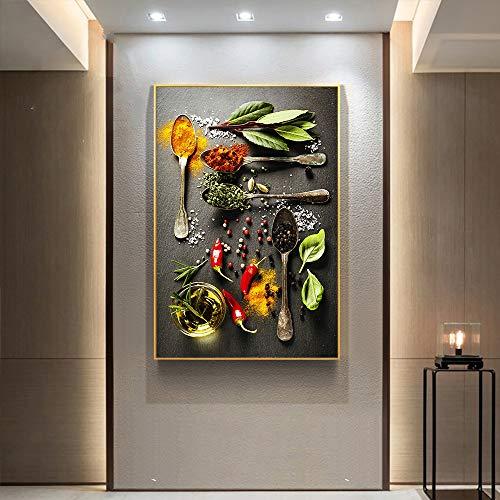 XCSMWJA Körner Gewürze Löffel Paprika Küche Dekor Wandkunst Bilder für Wohnzimmer HD Leinwand Gemälde Lebensmittel Poster 50x70cm