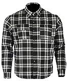 Bikers Gear Australia - Camiseta de franela con forro de aramida para motocicleta Kevlar (talla S), color negro y blanco