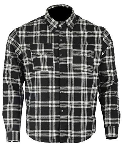 Bikers Gear Australia - Camisa protectora de franela para motocicleta con forro de aramida multicolor negro y blanco large