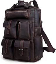 LBYMYB Men's Backpack Large Capacity Leather Travel Bag Head Leather Bag Bag, Dark Brown, 43x32x11cm Business Briefcase