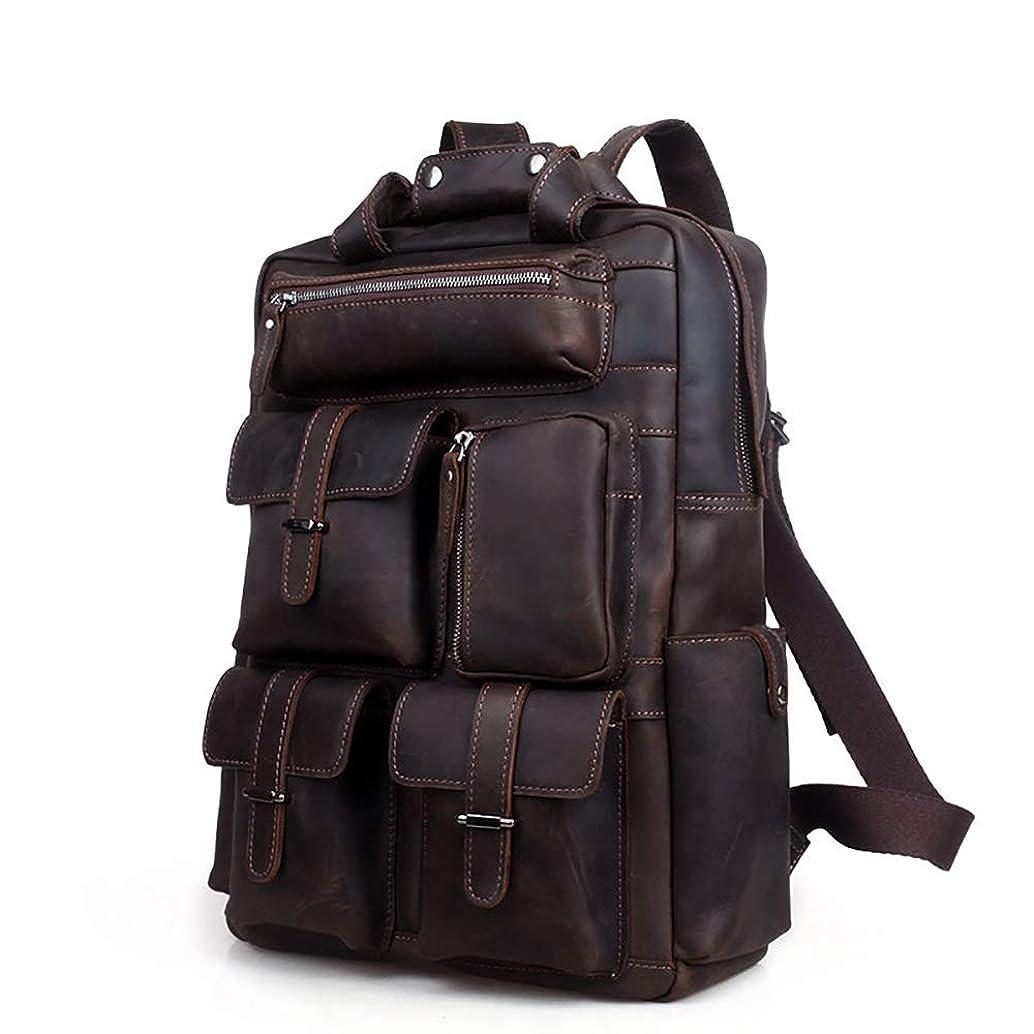 FGEFG Vintage Leather Men's Backpack Large Capacity 19