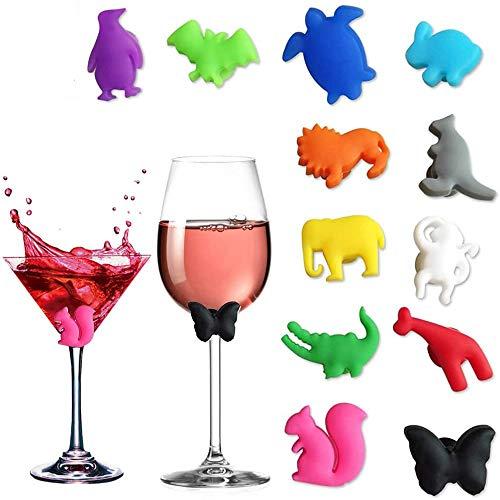 Nonebranded 12 Stück Glasmarker Silkon Glas Markierung, Party Wein Glas Marker, Partys Und Feiern, Weinglaser Getränke Markierungen Saugnapf, für Bar Party Tischdekorationen, Mehrere Farben
