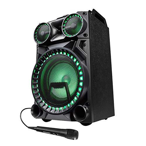 MEDION X64030 Party-Soundsystem (Partylautsprecher Karaoke, Bluetooth 2.1, Kompaktanlage, 1000 Watt, Farbige LED, USB, AUX, SD-Kartenleser, Mikrofonanschluss, Gitarrenanschluss)
