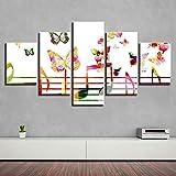 AWER 5 piezas de lienzo de arte de pared,Notas de música y mariposas.,Cuadro geométrico Abstracto,HD Imagen Impresiones En Lienzo,decoración de Dormitorio,en un Marco