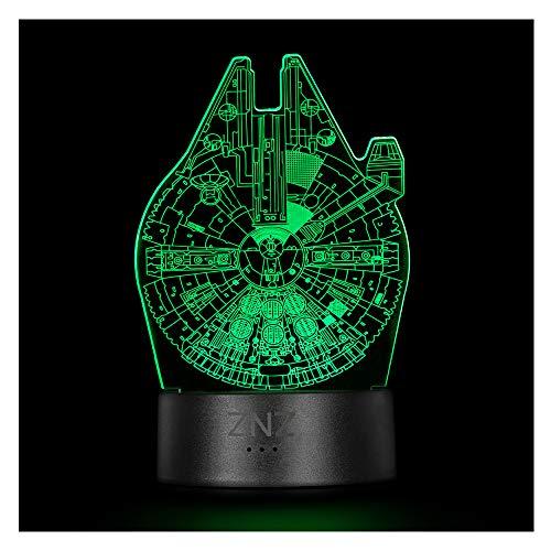 3D LED ilusión Luz de noche, Lámpara de Tres patrones y 16 colores Lámpara de decoración Cambio - Regalos perfectos para niños Mujer Hombres dia del padre (1-Millennium Falcon)