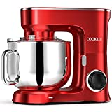 COOKLEE Stand Mixer, 9.5 Qt. 660W 10-Speed Electric Kitchen Mixer with Dishwasher-Safe Dough Hooks, Flat Beaters, Wire Whip & Pouring Shield Attachments for Most Home Cooks, SM-1551, Ruby Red
