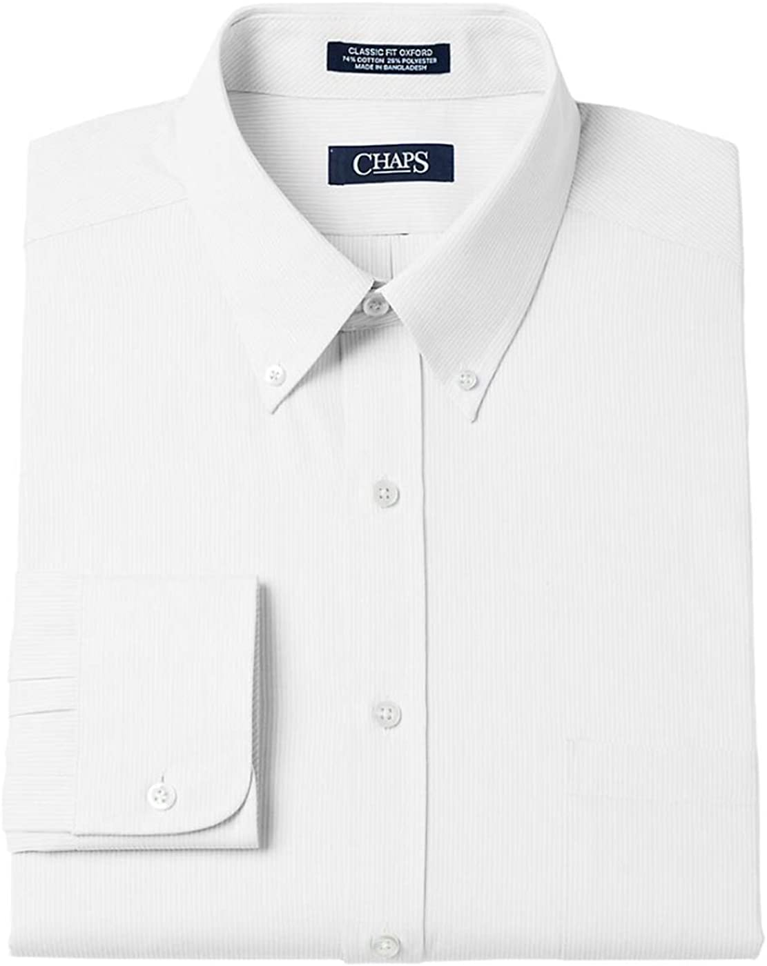 Chaps Men's Classic-Fit Long Sleeve Solid Dress Shirt, White
