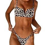 ITISME Bikini Donna Brasiliana Push-up Costume da Bagno Due Pezzi Sexy Perizoma Triangolo Leopardo V Reggiseno Spiaggia Costumi da Mare Beachwear