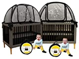 Aussie Cot Net Co - Twin Pack 2 Popup Baby Crib Tents - Premium Net Cover Crib Tent to Keep Baby from Climbing Out - See Through Black Crib Netting - Nursery Mosquito Net Baby Bed Canopy Netting