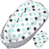 Baby Lounger Baby Nest Co-Sleeping for Baby with Two (2X) Covers! | 100% Breathable Soft Natural Cotton | Portable Adjustable Newborn Lounger for Crib and Bassinet | Baby Bed for Soothing Baby Sleep