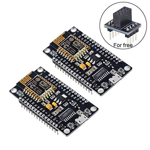 2pcs NodeMcu ESP8266 Serial Wireless Module CH340 NodeMcu V3 Lua WIFI Internet of Things New Version Development Board with Free Adapter, for Arduino Programming